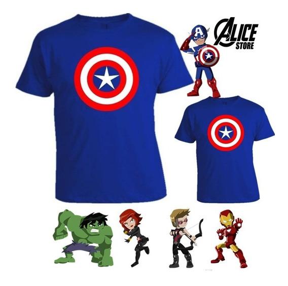 Kit Pai E Filho Super Heróis 2 Camisetas