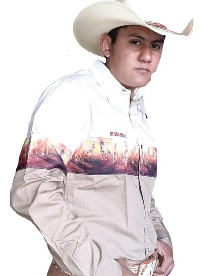 Camisa Vaquera Black Bull Cenefas Caballos Calaveras