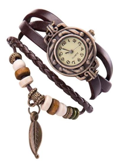 Relógio Feminino Pulseira Coruja De Folha Barato Promoção
