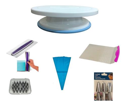 Imagen 1 de 8 de Kit Reposteria Plato+manga+levanta Torta+punteros+alisador