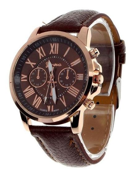Relógio Masculino Geneva 2465 Pulseira De Couro Marrom