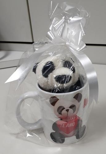 Imagem 1 de 9 de Caneca Porcelana + Ursinho Panda Presente Natal Frete Grátis