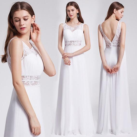 Vestido Novia Fiesta Gasa Encaje Blanco Importado