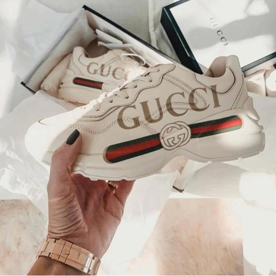 Tênis Gucci Rhynton Logo Couro Branco
