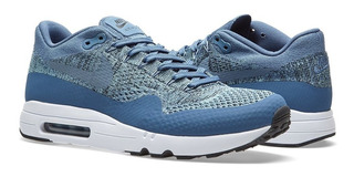 Unisexo Nike Air Max 1 Flyknit Gris Azul Blanco Zapatos