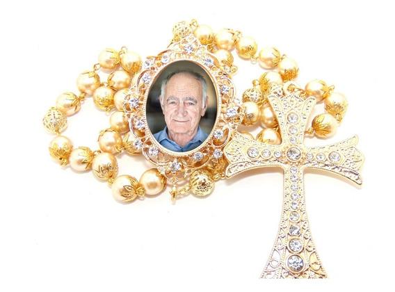 Terço Rosário De Noiva Pérolas Crucifixo Relicario Com Foto