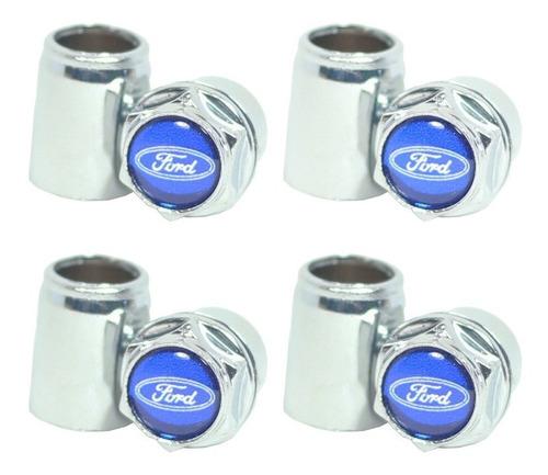 Imagem 1 de 10 de Kit Capa Para Valvula Bico Cromada Ford Azul Pino De Roda