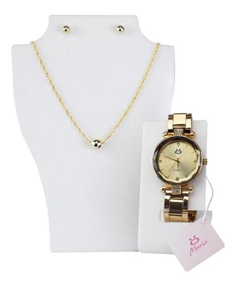 Kit Presente Mulher Relógio Dourado + Colar + Par De Brincos