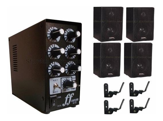 Kit 4 Caixas De Som Com Suporte + 1 Amplificador Setorizador