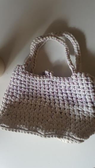 Cartera Totora Crochet De Mano Base Cuero