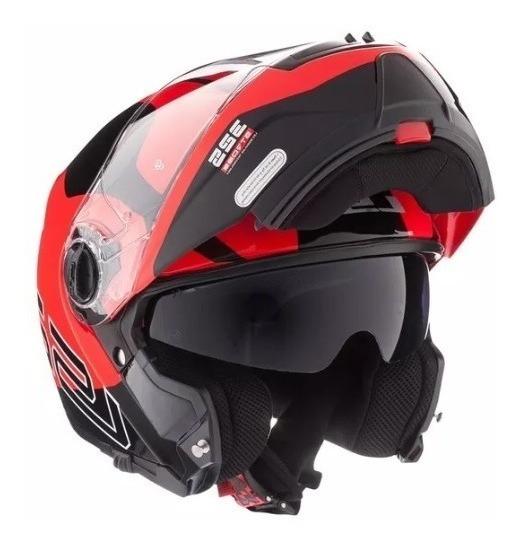 Casco Rebatible Ls2 325 Strobe Zone Negro Rojo Moto Calle