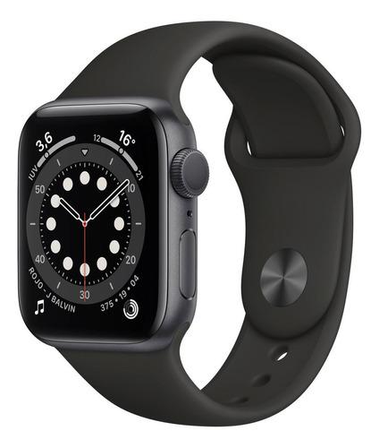 Imagen 1 de 8 de Apple Watch  Series 6 (GPS) - Caja de aluminio gris espacial de 40 mm - Correa deportiva negro