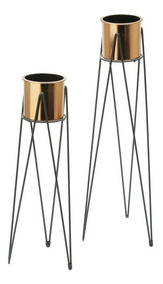 Conjunto 2 Vasos De Metal E Plástico Cobre Geo Forms - Urban