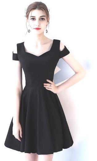 Vestidos De Cóctel Corto Elegante Vestido De Fiesta Negro