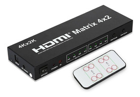 Matrix Hdmi 4x2 Switch Splitter 1080p 4k 3d Com Controle