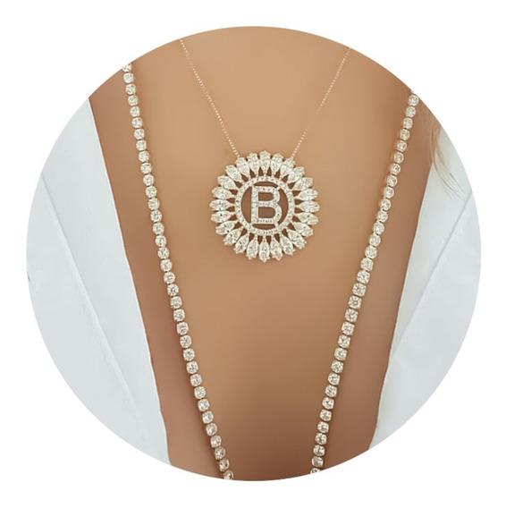 Colar Mandala Letra Inicial Zircônias Cravejadas Dourado