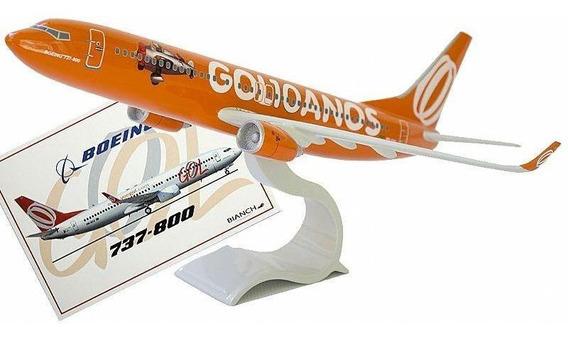 Maquete Boeing 737-800 Gol 10 Anos + Cartão Postal Boeing 737-800 Gol