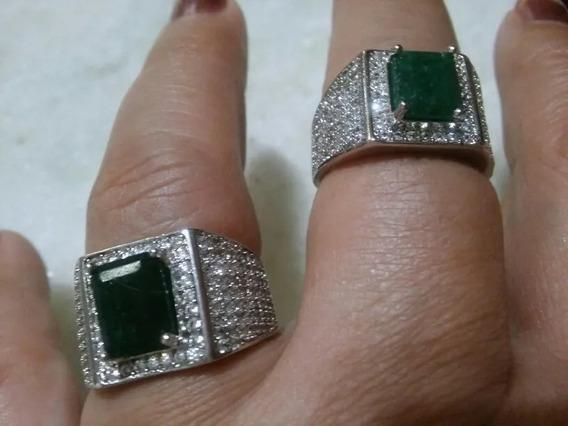 Anel Pedra Esmeralda Natural Zirconia Brilhante Prata 925