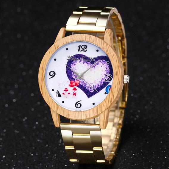 Zlf0626 Relógio De Quartzo Grão Madeira Aço Inoxidável Pulse
