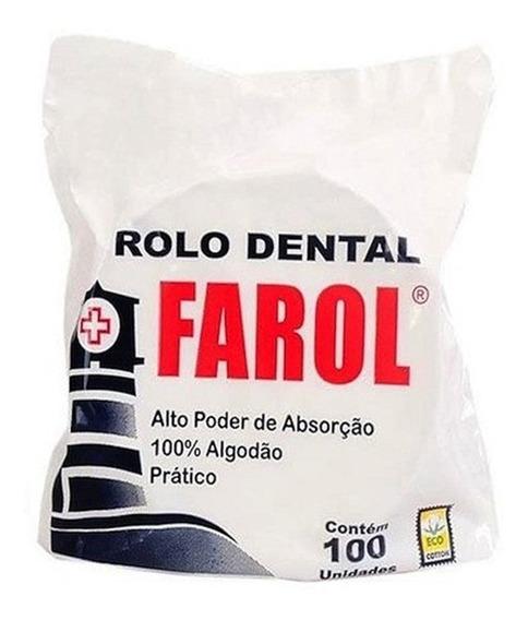 Rolo Rolete Dental De Algodão Farol C/100