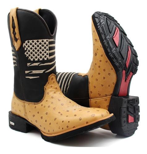Botina Bota Country Texana Bico Quadrado Rodeio Lançamento