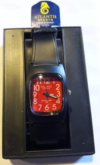 Relógio Atlantis Preto Fundo Vermelho Fem 5541w