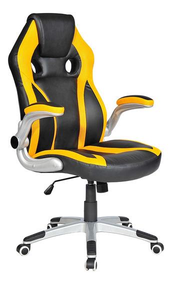 Cadeira Gamer Exeway Estofada, Preta/amarela