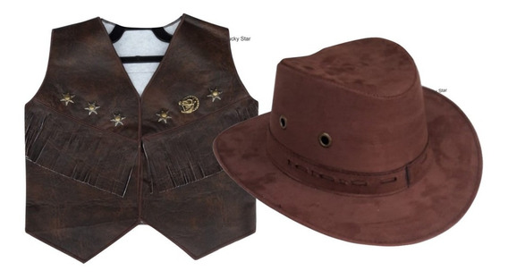 Colete Country Infantil + Chapéu Cowboy + Gravata + Ponteira