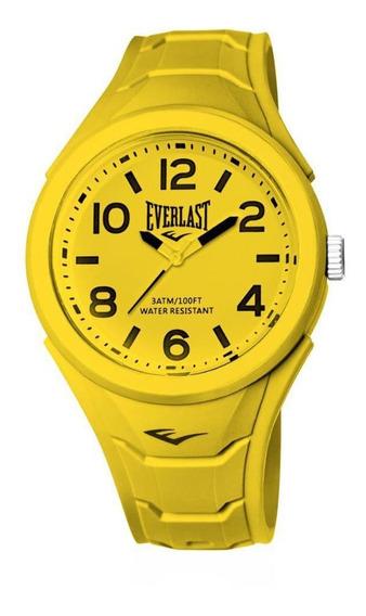 Relógio Pulso Everlast Unissex Esporte Silicone Amarelo E706