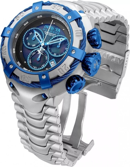 Relógio Masculino Prata E Azul Novo Pesado Importado Luxo