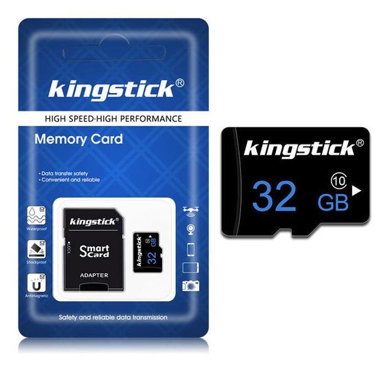 Cartão De Memória 32gb Kingstick Classe 10 + Adaptador Sd