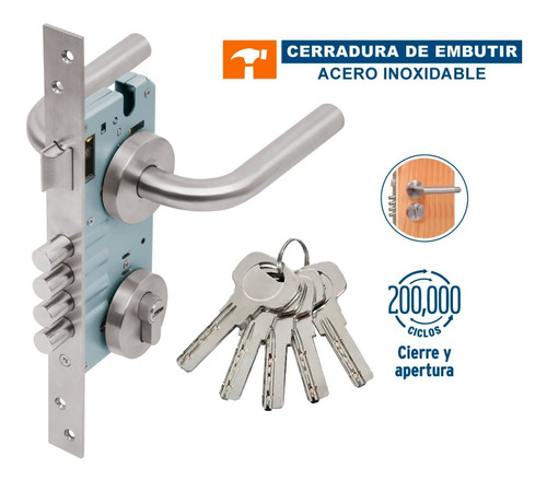 Imagen 1 de 5 de Cerradura Embutir Acero Inox Entrada Principal Hermex 43015