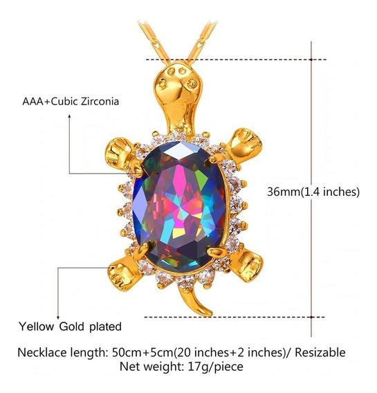 Colar Feminino Pingente Tartaruga Cristal Colorido Joia C317