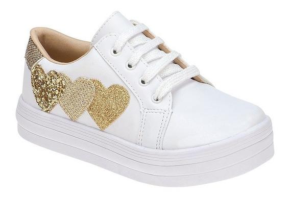 Tenis Infantil Feminino Menina Fashion Coração Branco, Rosa