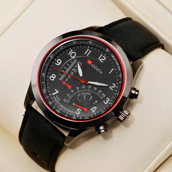 Relógio Masculino De Luxo Womage - Design Campeão - Mecanismo Japonês - Lançamento Top Couro - Brinde Estojo