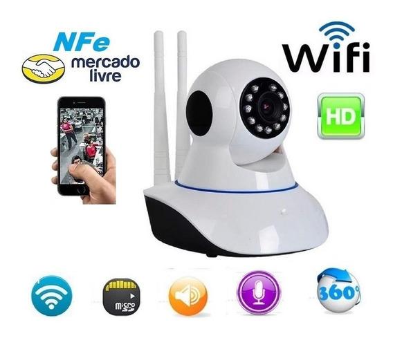 Câmera Segurança Vigilância Ip Hd 720 Wi Fi Áudio 2 Antenas