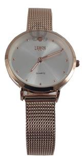 Reloj Mujer Rose Plateado Malla Tejida Lemon L1525-l1526