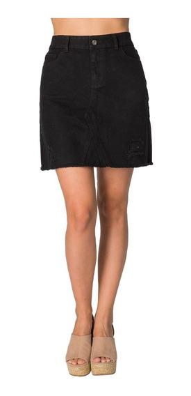 Faldas De Mezclilla Negra Cortas Modernas Mini Moda Rotas