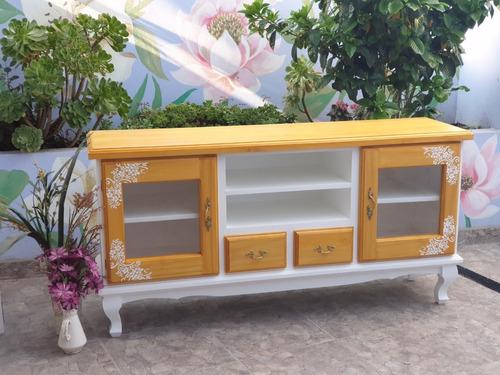 Mesa De Tv Mueble Madera Shabby Provenzal Vintage Flores