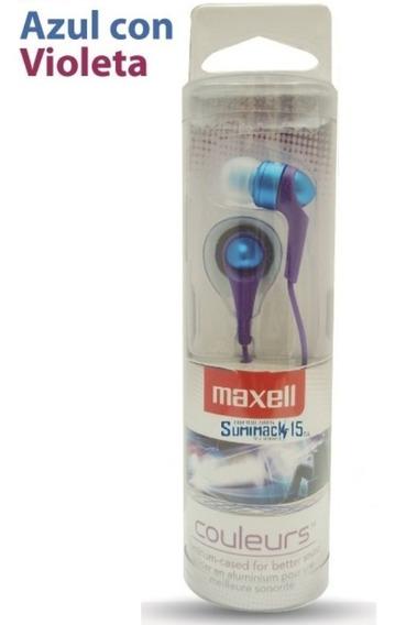 Audifonos Maxell Tipo Boton Couleur Buds Azul Con Violeta