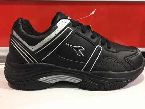 Zapatillas Diadora Colegial Tenis Negro Talle Del 28 Al 34.
