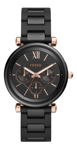 Reloj Dama Fossil Carlie Ce1094 Color Negro De Cerámica
