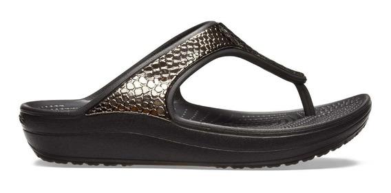 Sandalia Dama Crocs Sloane Flip Metaltxt Negro/plata