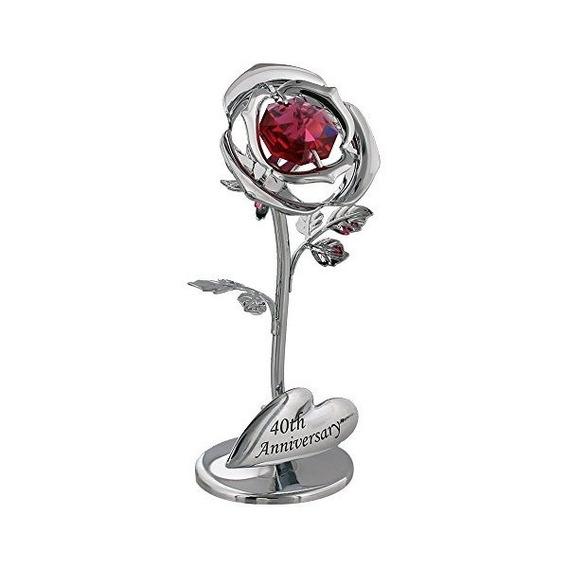 40 Aniversario Flor De Plata Con Rojo De Cristal Swarovski