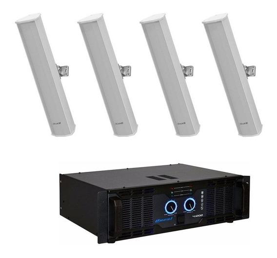 Kit 4 Caixa Som Line Oneal Olb1202 +amplificador Olp-4.1202