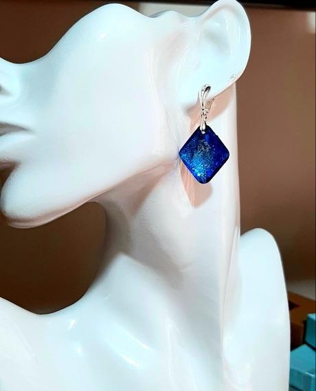Brinco Swarovski Blue Light Folh.a Prata Presente Luxo