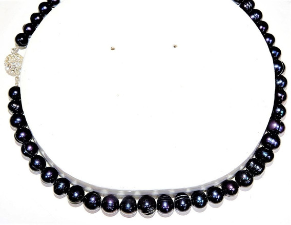 Collar Perlas Cultivada Negro Oferta 7-8 Mm Nr. 8328