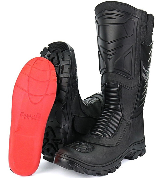 Bota Coturno Fran Boots Militar Moto Com Zíper Couro