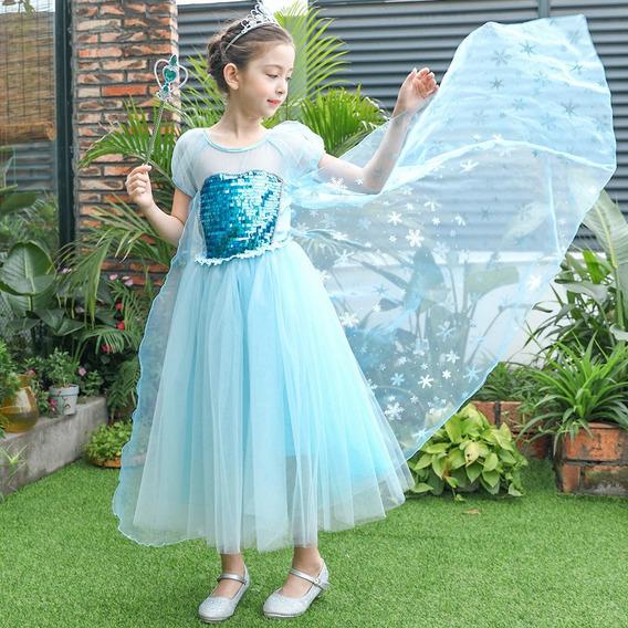 Vestido Importado De Princesa Elsa Frozen