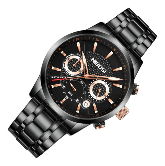Relógio Masculino Nibosi 2313 Resiste Água Aço Preto Casual